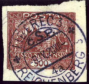 Liberec - Bilingual railway station postmark in April 1920