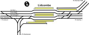 Lidcombe railway station - Image: Lidcombe trackplan