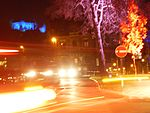 Light Festival in Marburg with traffic lights and trees at Wilhelmsplatz 2016-11-25.jpg
