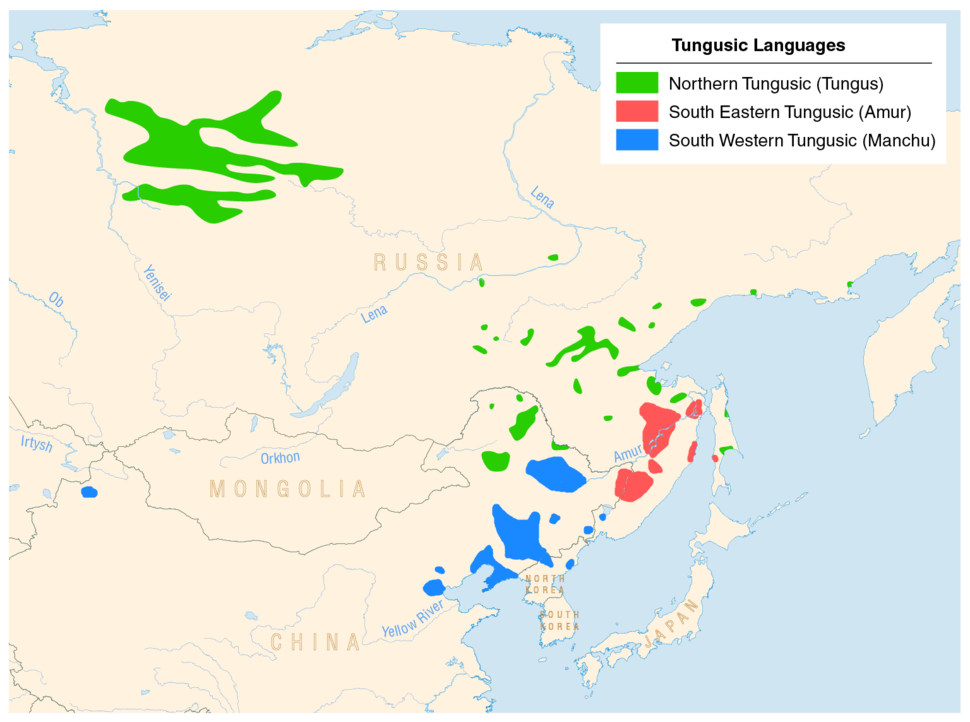 Linguistic map of the Tungusic languages (en)
