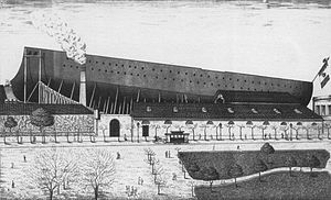 Italian ironclad Lepanto - Drawing of Lepanto under construction at Orlando