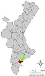 Location o Alicante in the Valencian Commonty