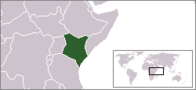 A map showing the location of Kenya