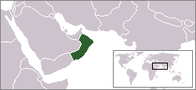 A map showing the location of Oman