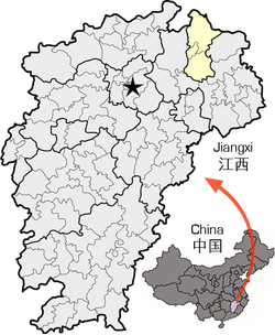 Location of Jingdezhen City jurisdiction in Jiangxi
