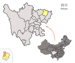 Location of Nanjiang County (red) within Bazhong City (yellow) and Sichuan