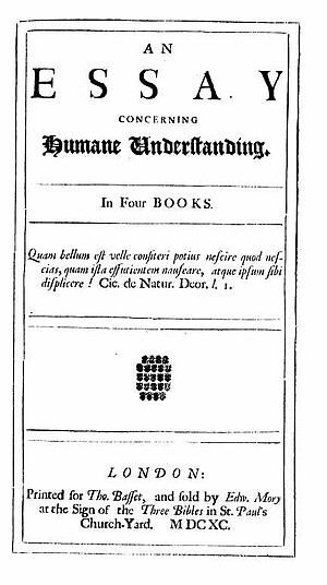 Sensibility - Title page of the first edition of An Essay Concerning Human Understanding by John Locke, 1689.