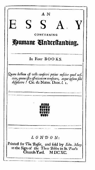 Personal identity - An Essay Concerning Human Understanding in four books (1690) by John Locke (1632-1704)