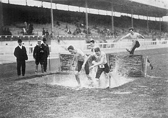3000 metres steeplechase - The water jump in the men's steeplechase at the 1908 Summer Olympics