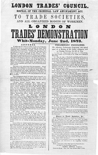 Trade union - Poster issued by the London Trades Council, advertising a demonstration held on 2 June 1873