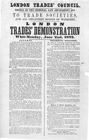 Poster issued by the London Trades Council, advertising a demonstration held on 2 June 1873 London Trades Demonstration.jpg