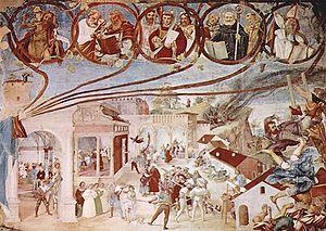 Lorenzo Lotto - Martyrdom of St. Claire (1524), fresco.