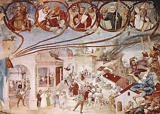 Lorenzo Lotto - Martyrdom of St. Claire (1524), fresco.
