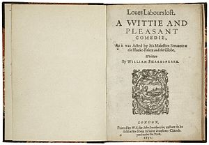 Love's Labour's Lost - The title page from the second quarto edition, printed in 1631.