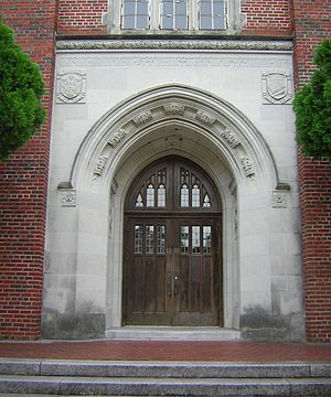 Loyola University New Orleans - Entrance to the Memorial Library (1950), dedicated to Loyolans killed in World War II