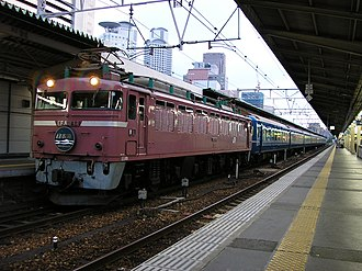 Nihonkai (train) - EF81 locomotive on a Nihonkai train at Ōsaka Station in September 2006