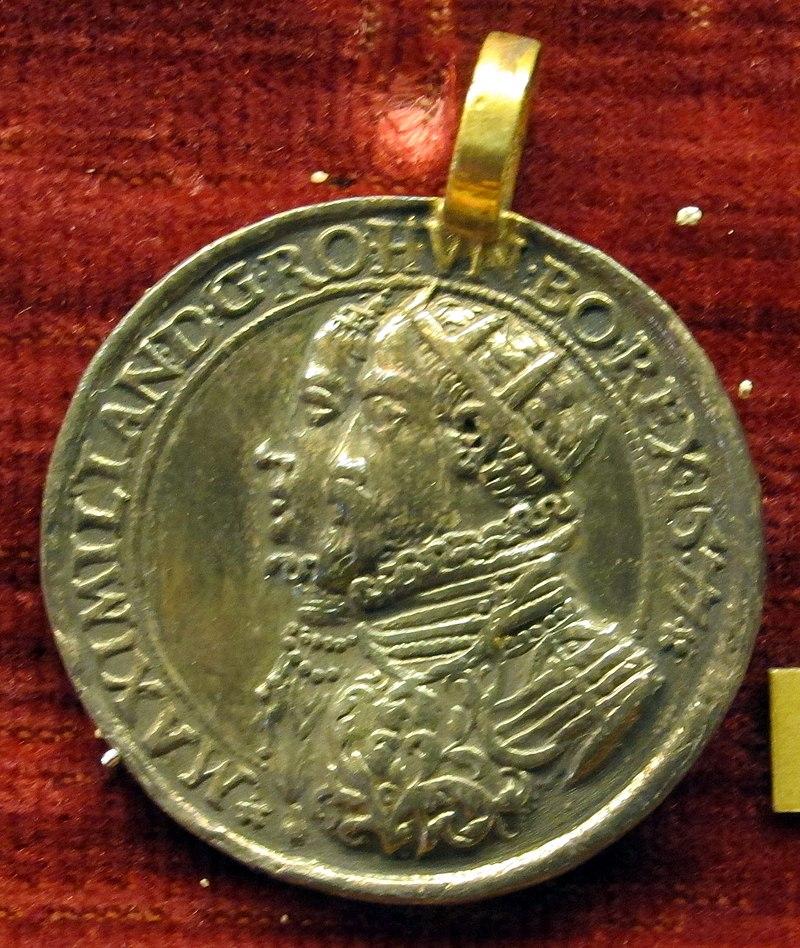 Lucas richter, med.  di massimiliano II imp.  e maria d'Habsburgo, 1577, arg.  dorato.JPG