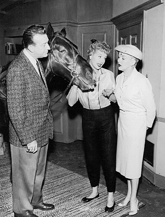 From left: Harry James, Lucille Ball, Betty Grable. (The Lucille Ball-Desi Arnaz Show, 1958) Lucy wins racehorse 1958.JPG