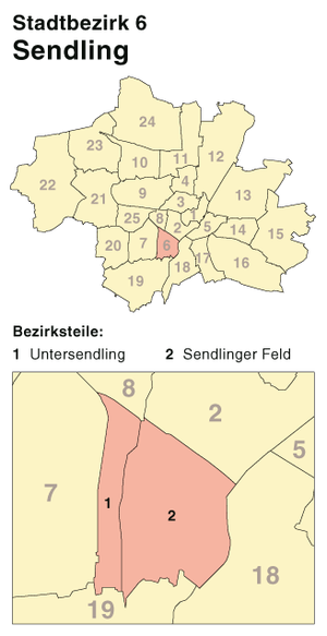 Sendling - Borough 6 - Sendling: Location in Munich