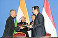 M. Hamid Ansari and the Prime Minister of Hungary, Mr. Viktor Orban witnessing the exchange of MoU by the Ambassador of India to Hungary, Shri. Rahul Chhabra and the Director General of Institute of Foreign Affairs and Trade.jpg