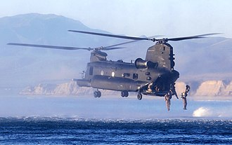 U.S. Army Special Operations Aviation Command - A 160th SOAR(A) MH-47 Chinook conducts water insertion training with MARSOC Marines