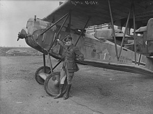 Andrew Edward McKeever - Major A.E. McKeever, Commanding Officer, No. 1 Squadron, C.A.F. with captured Fokker D. VII aircraft of the German Air Force, Upper Heyford, Oxon., 1919