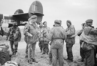 Denison smock - The Airborne Assault: Major-General Richard Gale, GOC 6th Airborne Division, talking to troops of 5th Parachute Brigade before they emplane in an Albemarle at Royal Air Force Harwell on the evening of 4 or 5 June