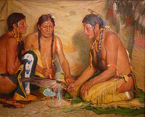 Hierochloe odorata - Making Sweet Grass Medicine, painting by Joseph Henry Sharp