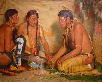 Hierochloe odorata - Making Sweet Grass Medicine, painting by Joseph Henry Sharp