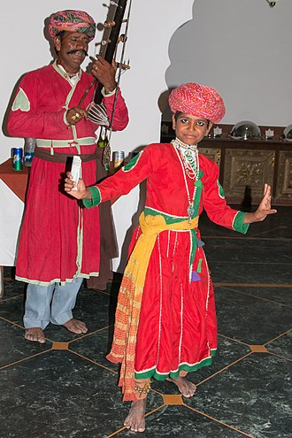 Outline of Rajasthan - Young boy playing a dance nritta