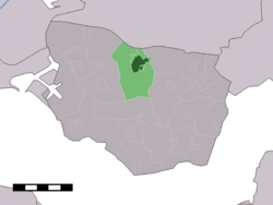 The town centre (dark green) and the statistical district (light green) of Heinkenszand in the municipality of Borsele.