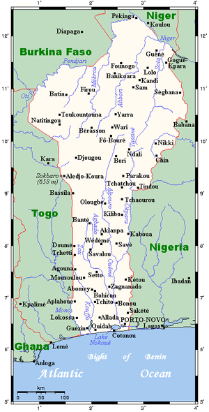 Geography of Benin - Image: Map of Benin OMC