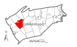 Map of Cumberland County, Pennsylvania highlighting North Newton Township