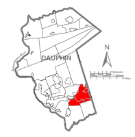 Map of Dauphin County, Pennsylvania highlighting Derry Township