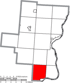 Location of Guyan Township in Gallia County