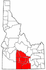 Map of Idaho highlighting counties in the Magic Valley region