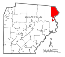 Map of Clearfield County, Pennsylvania highlighting Karthaus Township