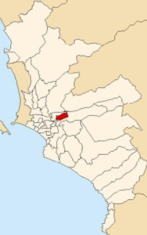 Santa Anita District - Image: Map of Lima highlighting Santa Anita