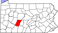 Map of Pennsylvania highlighting Cambria County