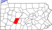 Map of Pennsylvania highlighting Cambria County.svg