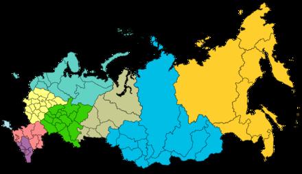 俄罗斯行政区地图 - 俄