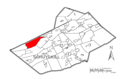 Map of Schuylkill County, Pennsylvania Highlighting Eldred Township.PNG