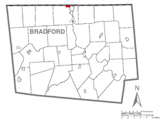Map of South Waverly, Bradford County, Pennsylvania Highlighted.png