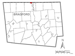 Map of Bradford County with South Waverly highlighted