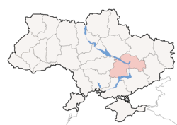Location o Dnipropetrovsk Oblast (red) athin Ukraine (blue)