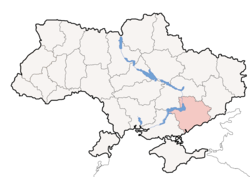 Location o Zaporizhia Oblast (red) athin Ukraine (blue)