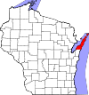 State map highlighting Door County