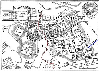 Cloaca Maxima - Map of central Rome during the time of the Roman Empire, showing Cloaca Maxima in red