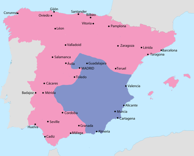 Map showing Spain in February 1939: