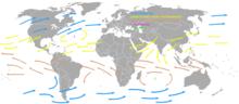 I venti occidentali (frecce blu) e gli alisei (frecce gialle e marroni)